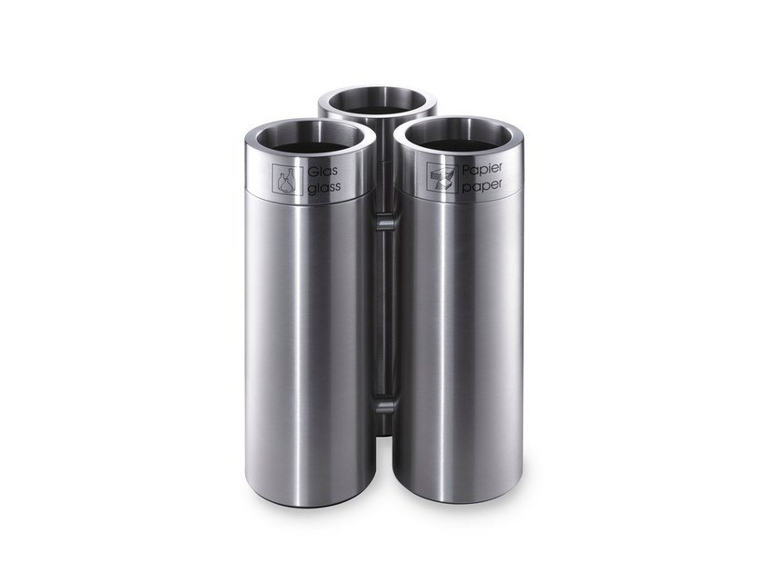 Stainless steel waste paper bin CREW 45 by rosconi