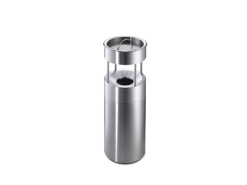 Stainless steel litter bin with ashtray CREW 50 by rosconi