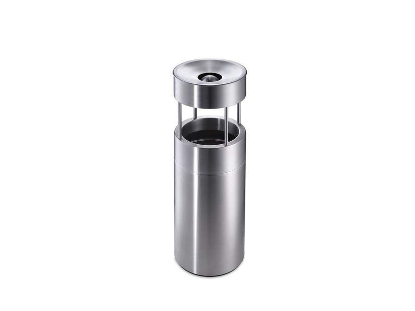 Stainless steel litter bin with ashtray CREW 57 by rosconi