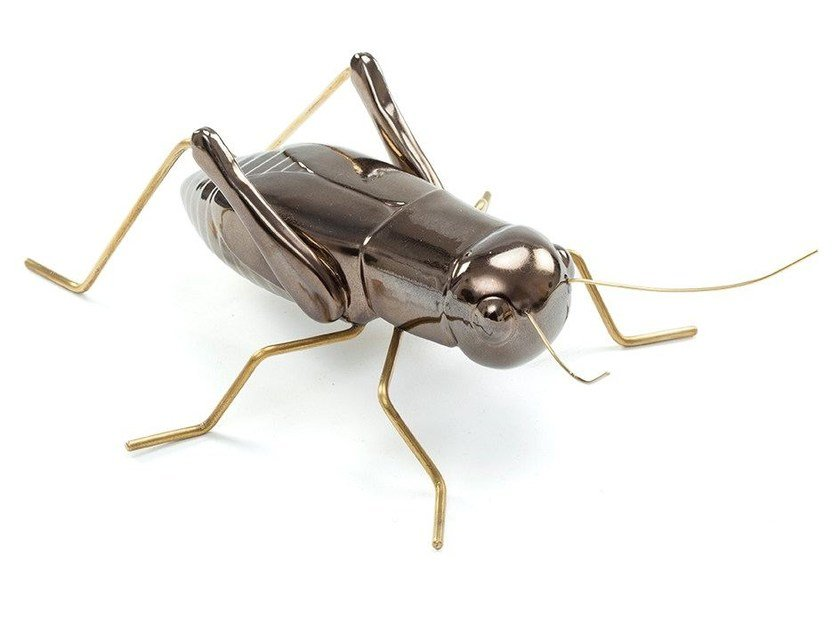 Ceramic and brass ornament Cricket Gold by Mambo Unlimited Ideas