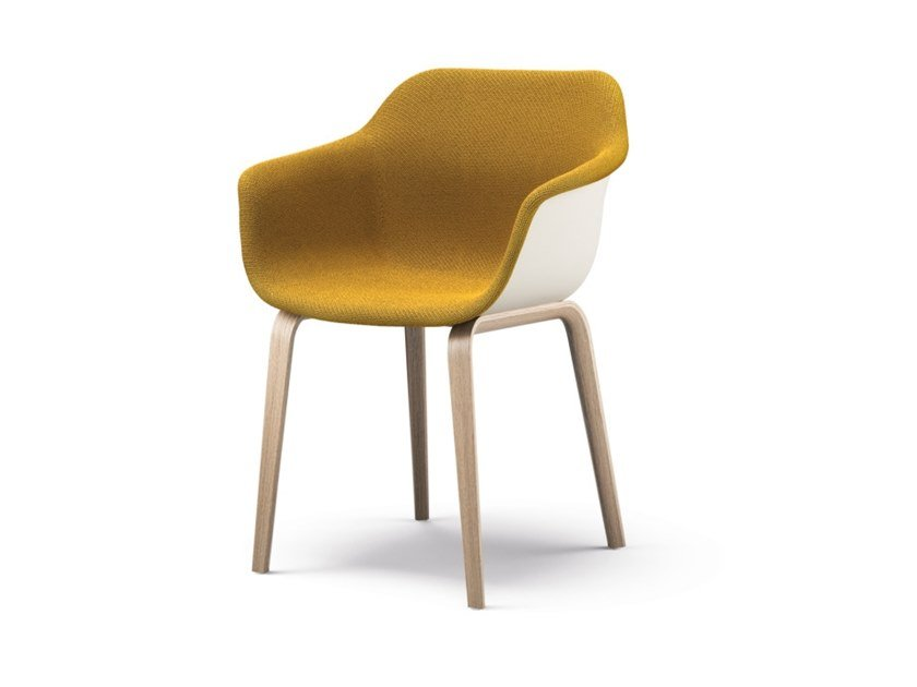 Upholstered fabric chair with armrests CRONA LIGHT TOUCH | Chair by Brunner