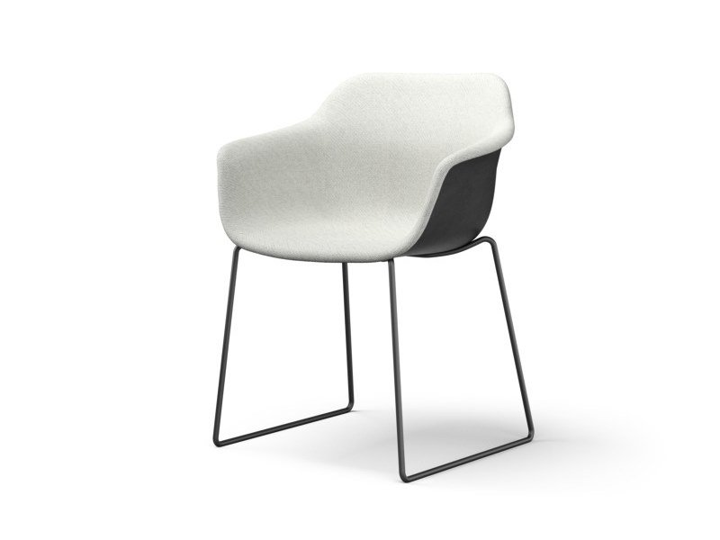 Sled base upholstered fabric chair with armrests CRONA LIGHT TOUCH   Sled base chair by Brunner
