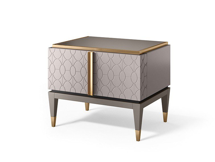 Lacquered rectangular bedside table CROSBY | Bedside table by Valderamobili
