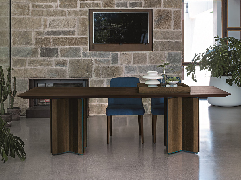 Rectangular oak table CROSS WOOD by Dall'Agnese