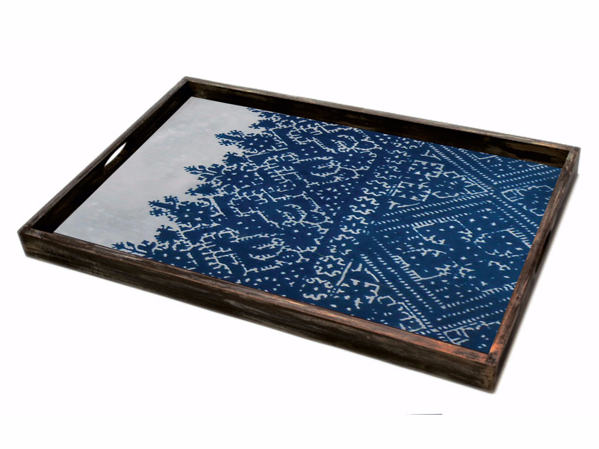 Rectangular wood and glass tray CROSS STITCH by Notre Monde