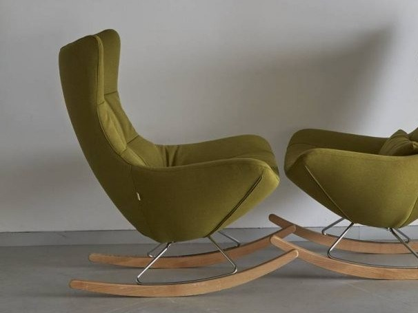 Rocking upholstered fabric armchair CROSSOVER by H&Co