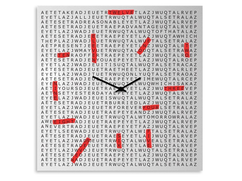 Wall-mounted plate clock CROSSWORD by Designobject.it