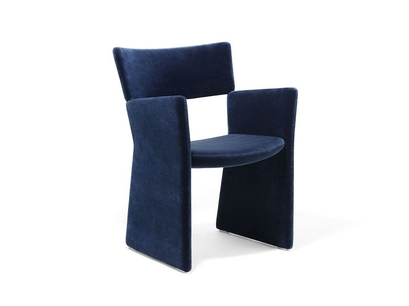Fully upholstered armchair CROWN   Sled base easy chair by Massproductions