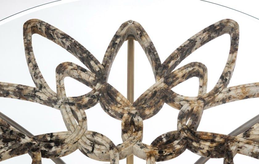 GranitoAcciaio In Inox Tavolo Vetro Maneda Rotondo Crown E 5jc43RqALS