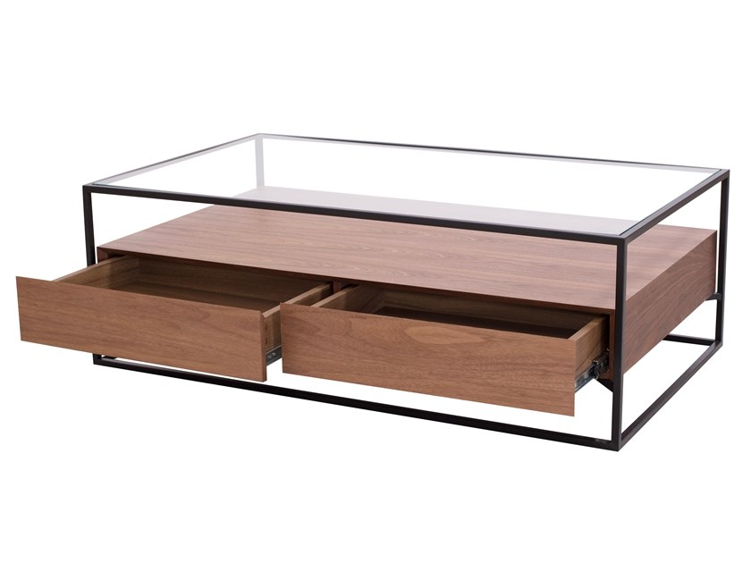 Tavolino rettangolare in legno e vetro con vano contenitore CT-331 | Tavolino by Adwin