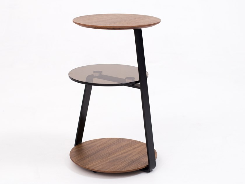 Round wood and glass coffee table CT-232B | Coffee table by Adwin
