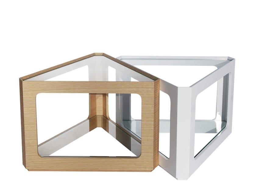 Tavolino da caffè triangolare in legno e vetro CT-192 | Tavolino by Adwin