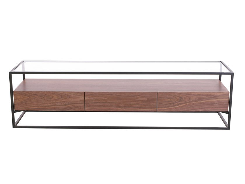 Rectangular wood and glass coffee table with storage space CB-093 | Coffee table by Adwin