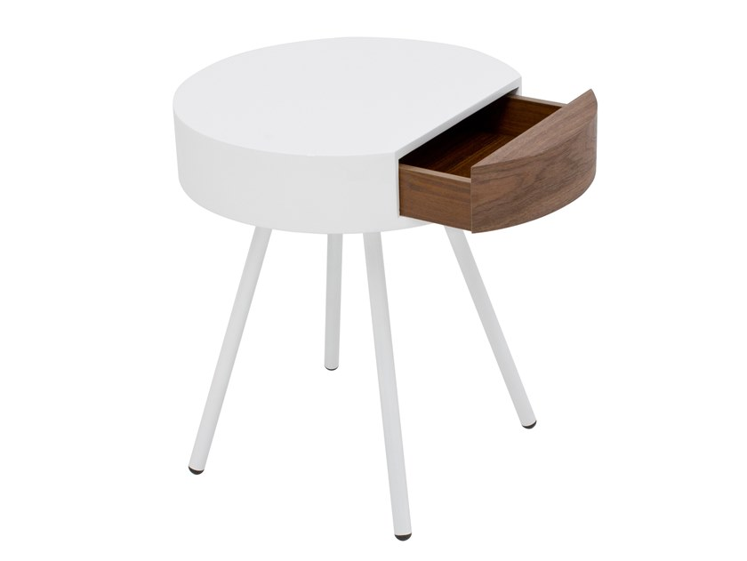 Round wooden bedside table with drawers CT-313 | Bedside table by Adwin