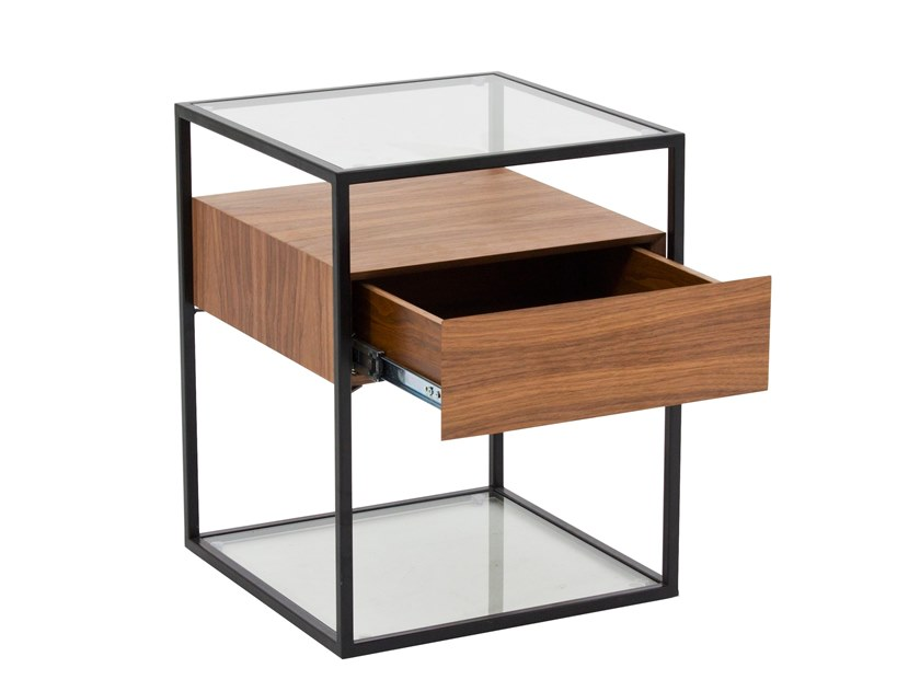 Square wood and glass bedside table with drawers CT-311B | Bedside table by Adwin