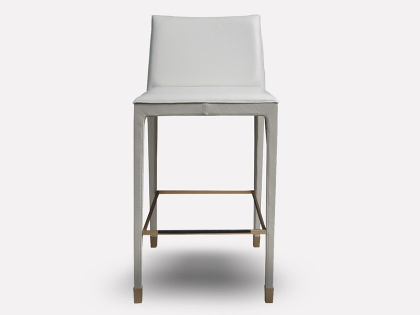 High upholstered leather stool with back CUBÉ | High stool by MORADA