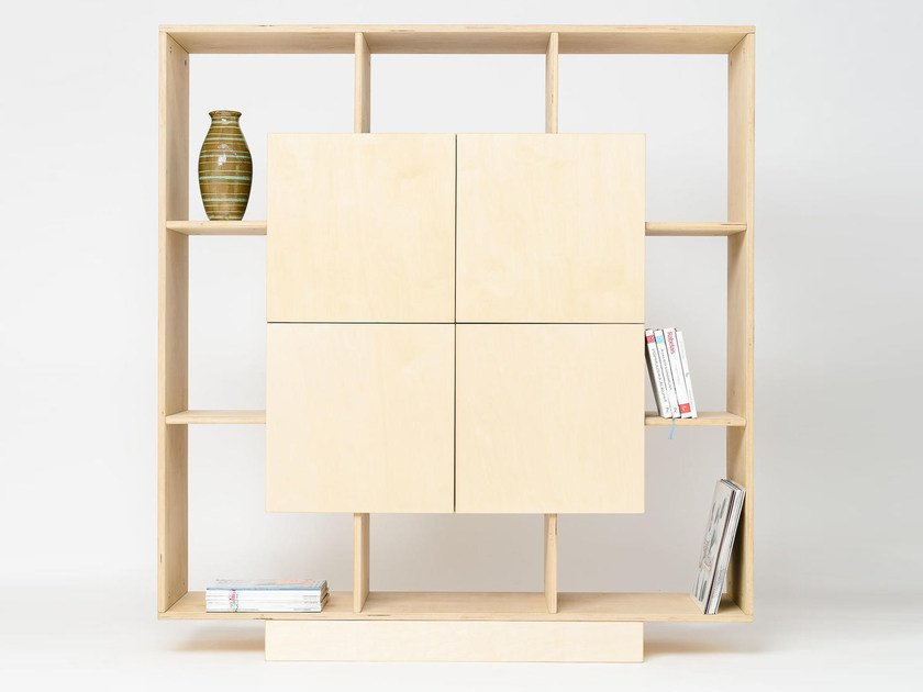 Plywood highboard with doors CUBE by Radis