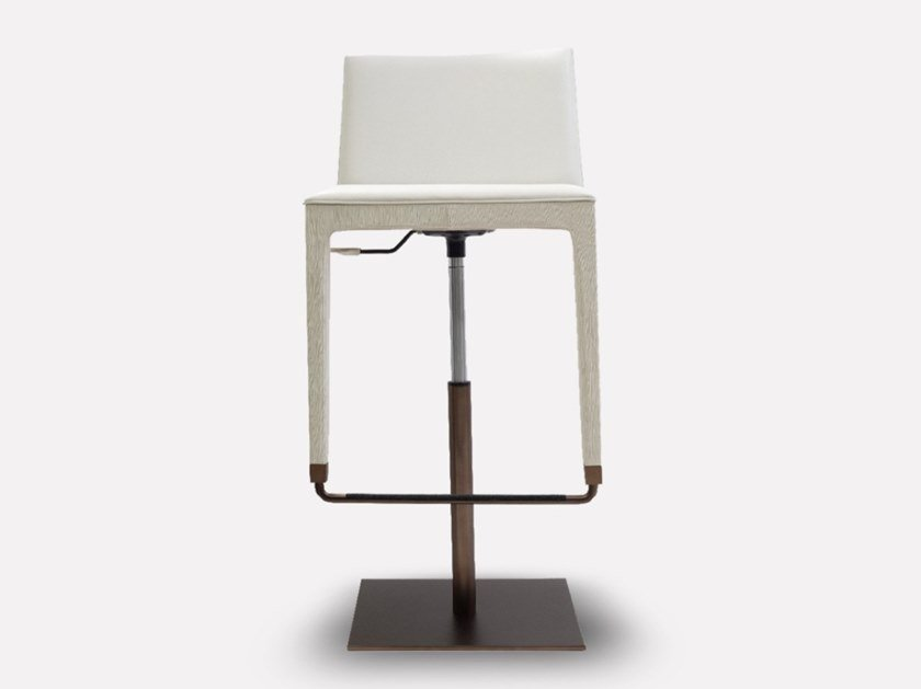 High leather stool with gas lift CUBÉ | Stool with gas lift by MORADA