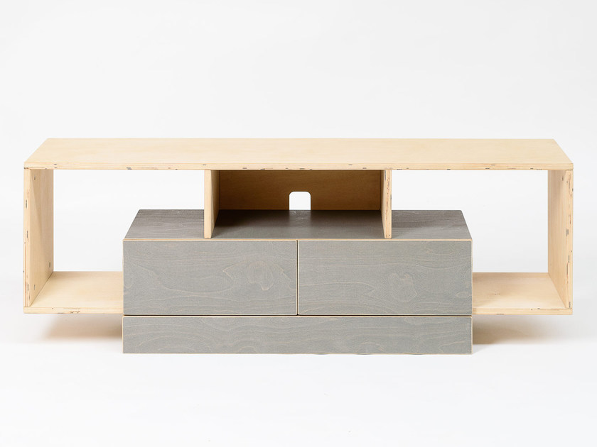 Plywood TV cabinet with drawers CUBE | TV cabinet by Radis