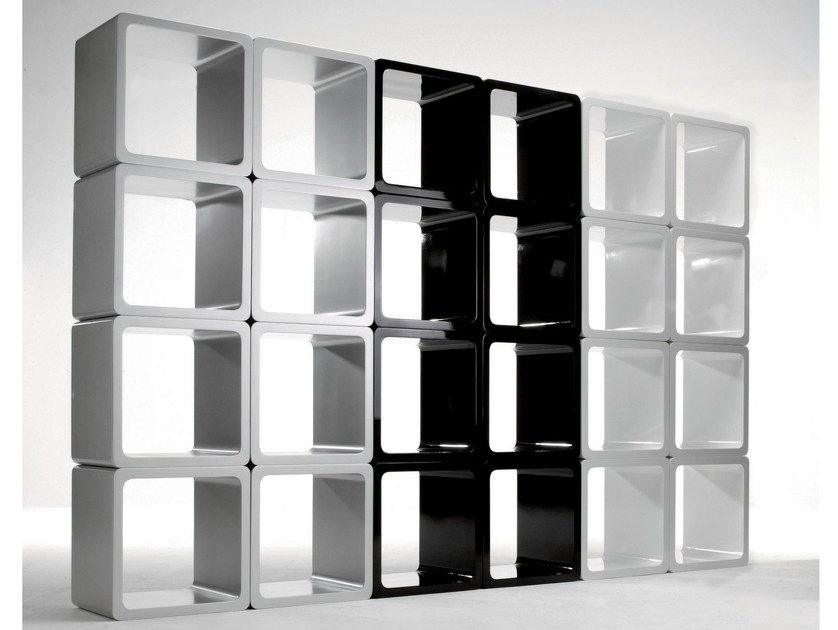 Open sectional modular MDF bookcase CUBE WHITE by KARE-DESIGN