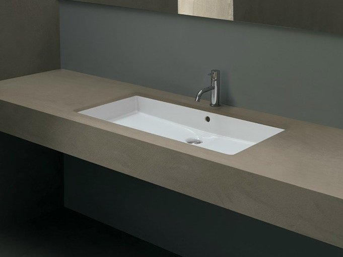 Undermount rectangular ceramic washbasin CUBIC 80 by Alice Ceramica