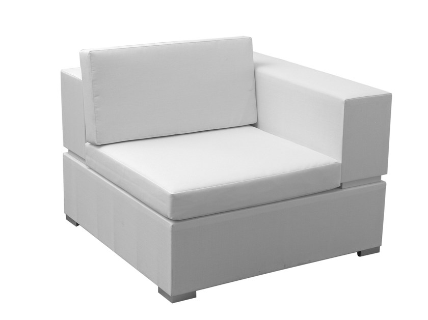 Modular fabric garden armchair CUBIC | Garden armchair with armrests by calma