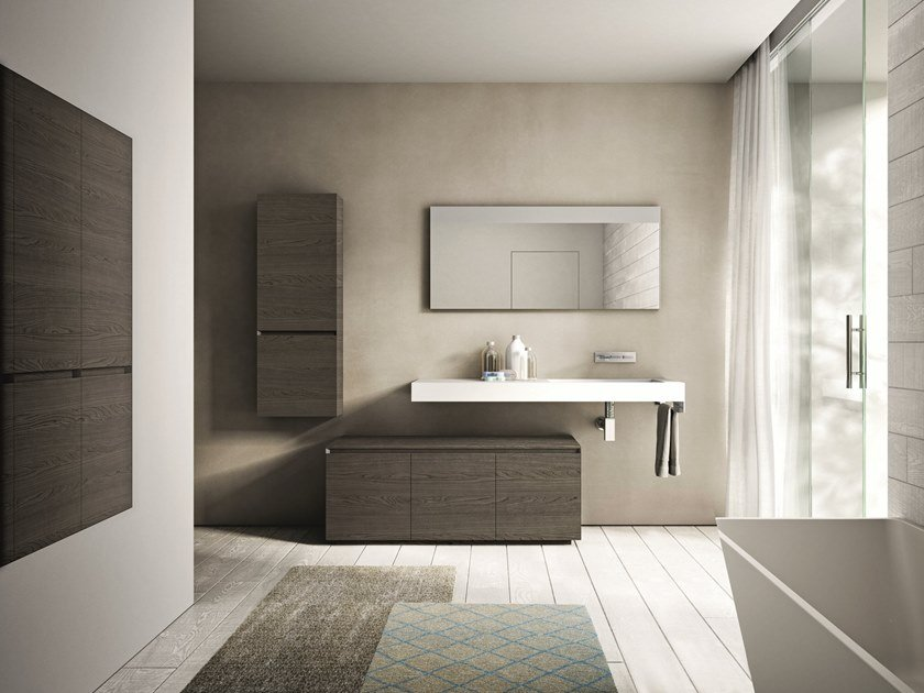 Wooden bathroom furniture set CUBIK COMP. 15 by Idea