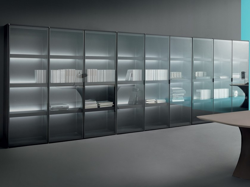 Freestanding wood and glass office shelving CUBIK | Freestanding office shelving by Martex