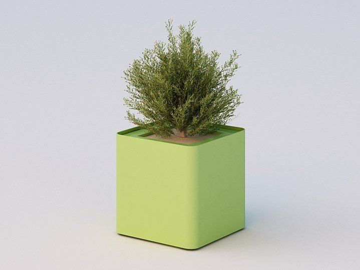 Low galvanized steel Flower pot CUBIK | Low Flower pot by DIMCAR