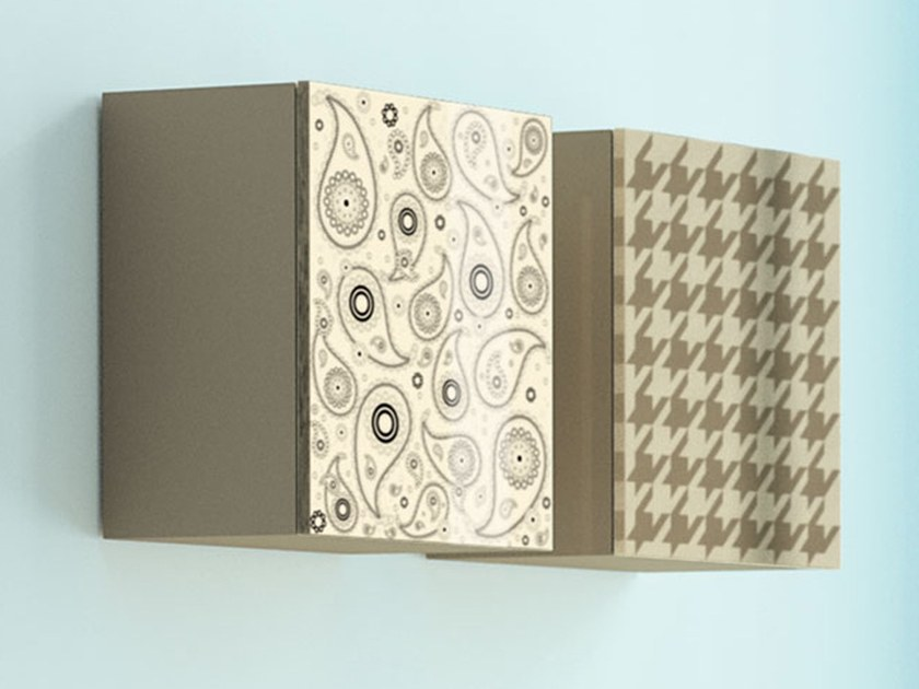 Lacquered beech wall cabinet with door CUBO PAISLEY-PIEDDEPOULE by BeKreative