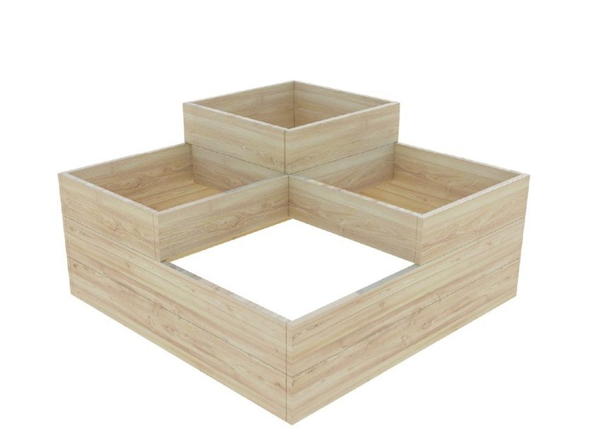 Fioriera bassa quadrata in abete CUBO by Zuri Design