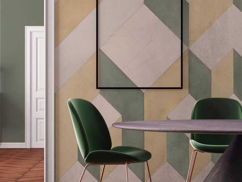 Geometric nonwoven wallpaper CUBOLIBRE by Tecnografica Italian Wallcoverings