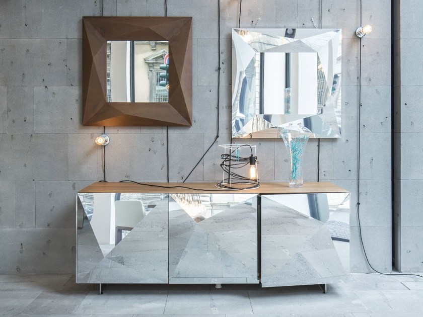 Steel and wood sideboard with doors CUBRIC | Steel and wood sideboard by RIFLESSI
