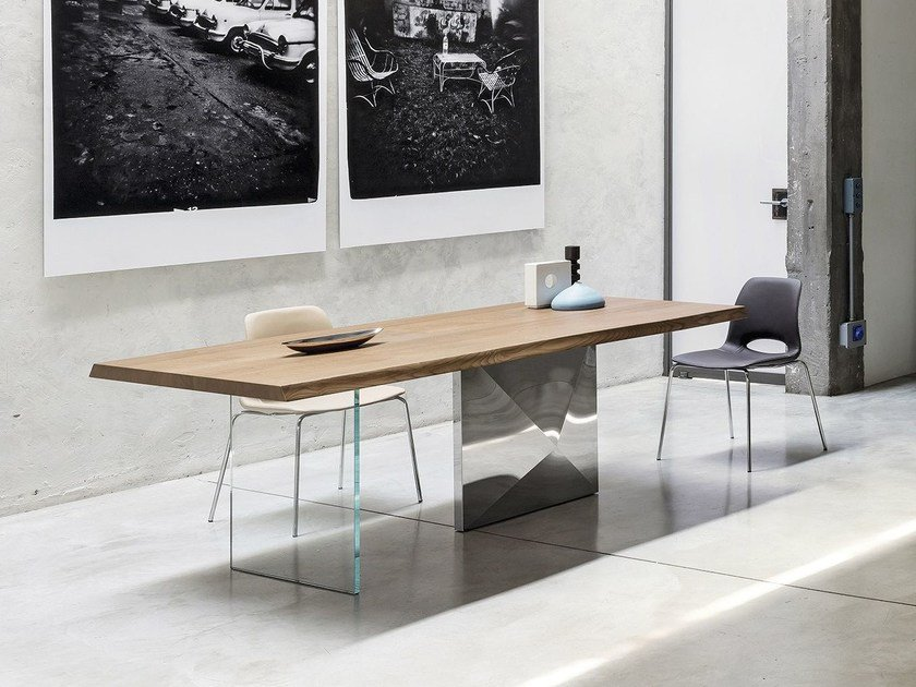 Rectangular steel and wood living room table CUBRIC | Table by RIFLESSI