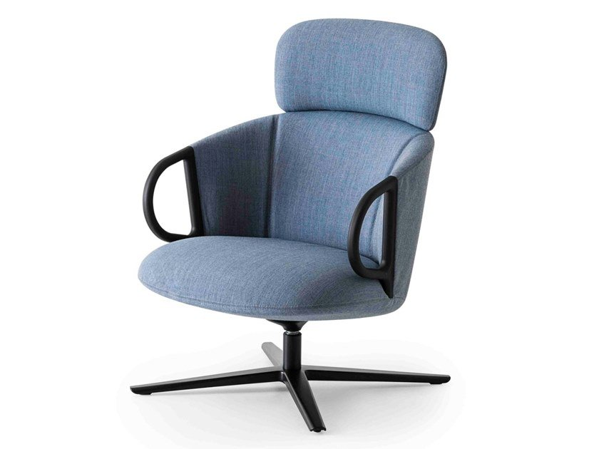 Fabric easy chair with 4-spoke base high-back CUCARACHA HB by GABER