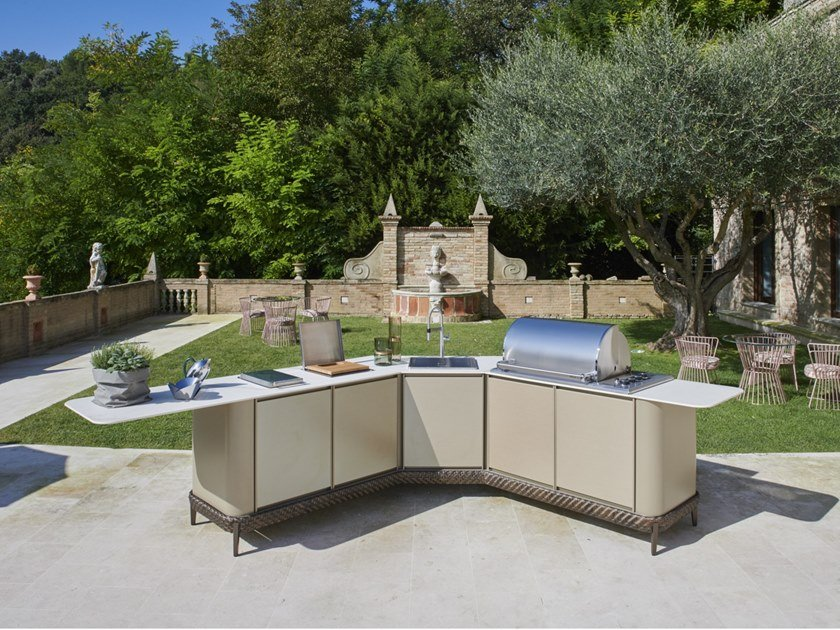 Gas outdoor kitchen with Barbecue CURVED by Samuele Mazza Outdoor