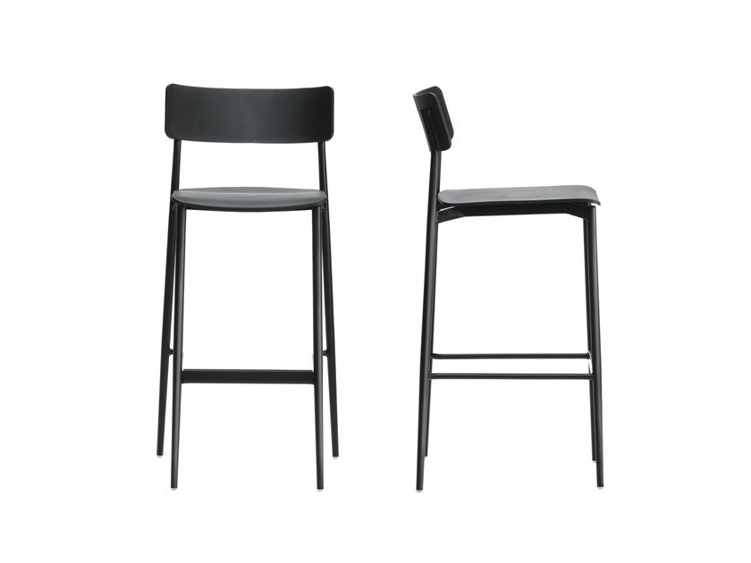 High polypropylene stool with back with footrest CULT | High stool by Segis