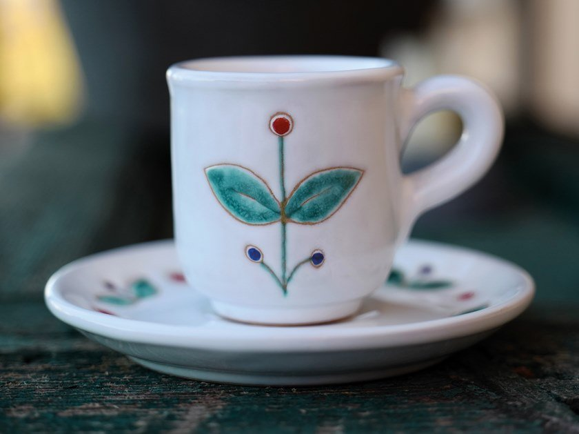Ceramic cup with saucer LE PAVONCELLE | Cup by Cerasarda