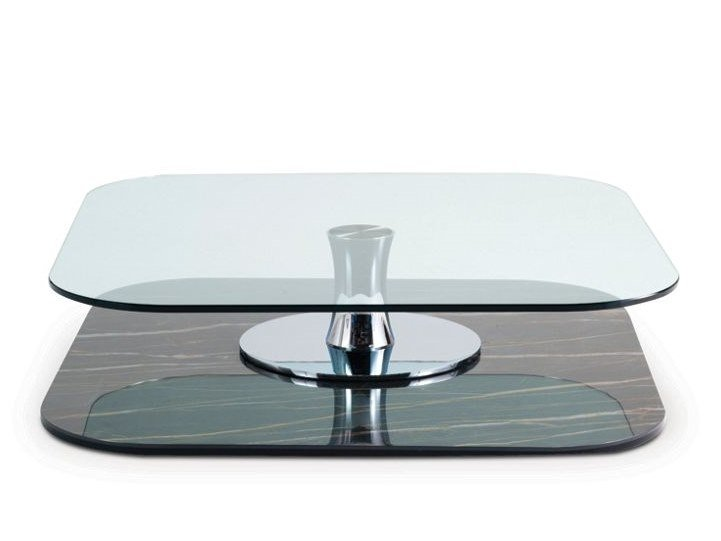 Square glass coffee table CURLING CERAMIQUE by ROCHE BOBOIS