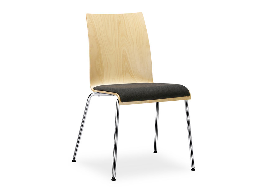 Stackable wooden chair with integrated cushion CURVE IS1 C11V by Interstuhl