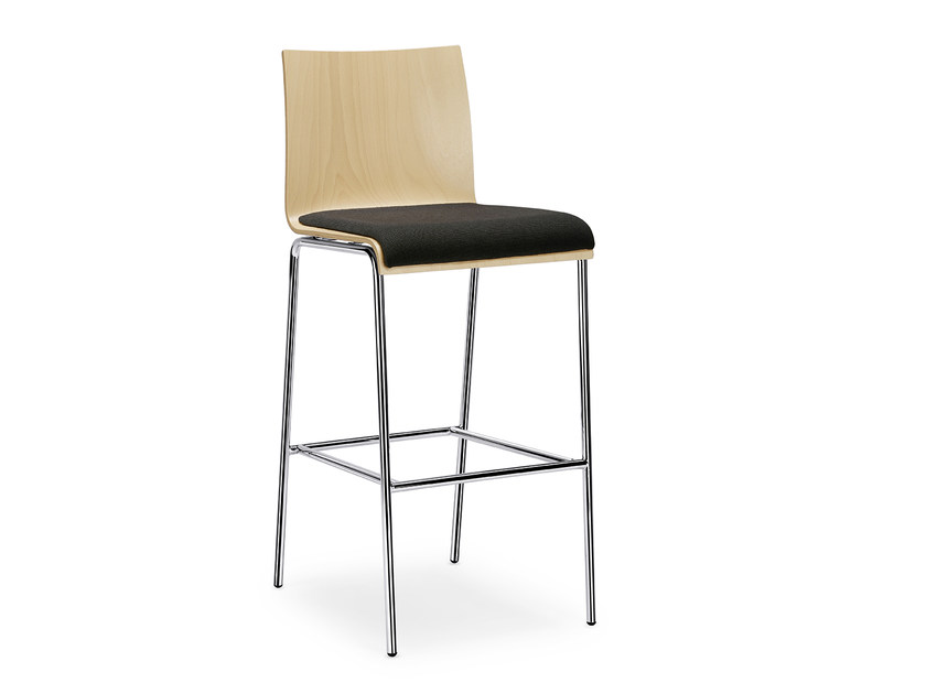 Stackable wooden chair with integrated cushion CURVE IS1 C130P by Interstuhl