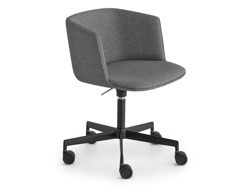 Height-adjustable swivel fabric chair with castors CUT | Task chair with 5-Spoke base by Lapalma