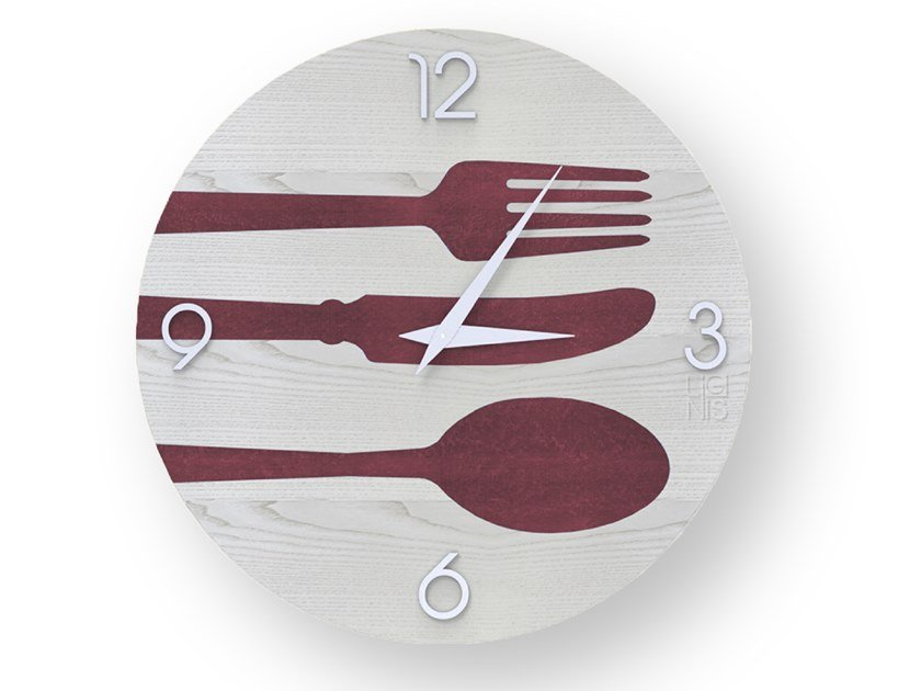 Wooden clock CUTLERY COLORS | Clock by LIGNIS®