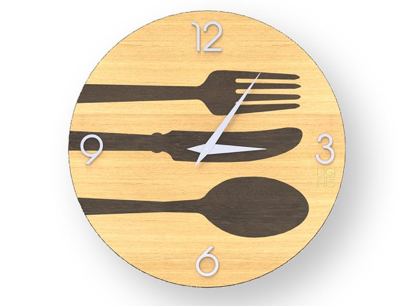 Wooden clock CUTLERY WARM | Clock by LIGNIS®