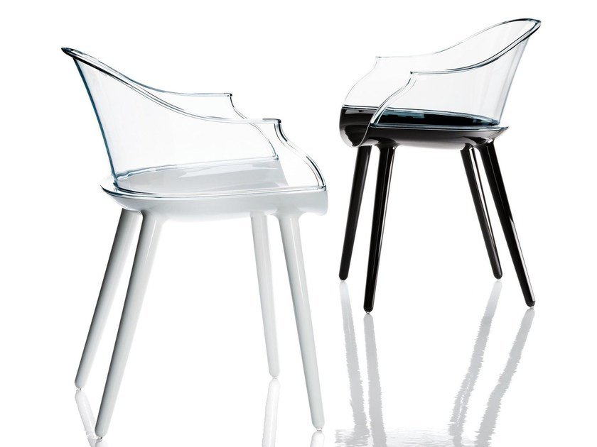 Polycarbonate chair with armrests CYBORG | Chair by Magis