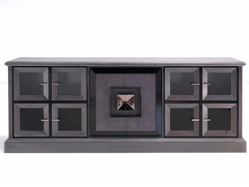 Modular wood and glass sideboard with doors D 1497 | Sideboard by Annibale Colombo