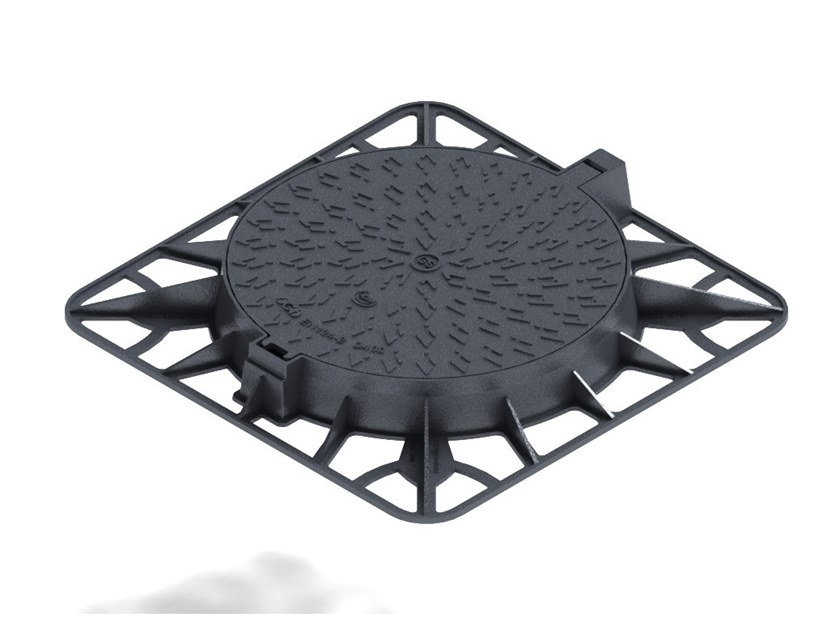 Manhole cover for plumbing and drainage system D400 WITH SQUARE FRAME by LINK industries