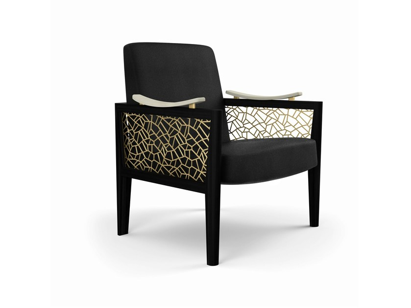 Upholstered armchair with armrests DAHLIA | Armchair by MARIONI