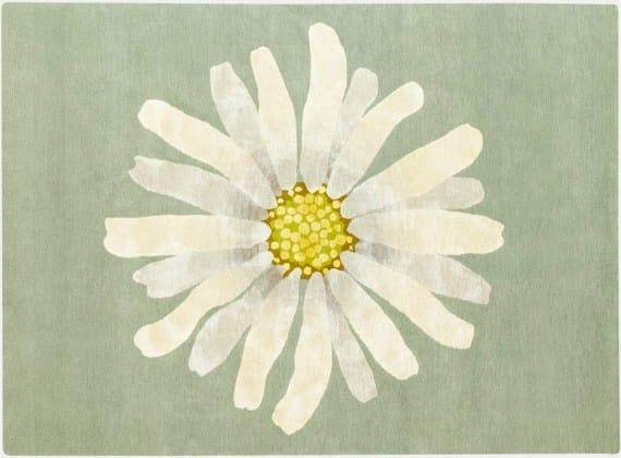 Rectangular rug with floral pattern DAISY by Deirdre Dyson