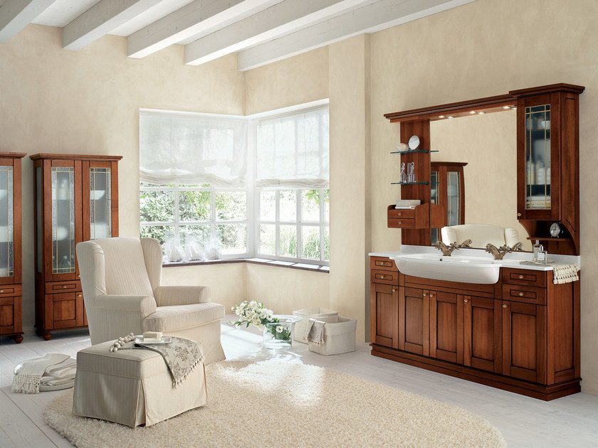 Walnut bathroom cabinet / vanity unit DALÌ - COMPOSITION 14 by Arcom